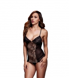 Baci - Basque & Garter Stays No Panty Leopard/ Black One Size