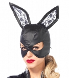 Artificial Leather Bunny Mask - Black