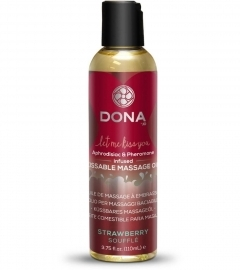 DONA Kissable Massage Oil Strawbery Soufflé - masážny olej jahoda (110ml)